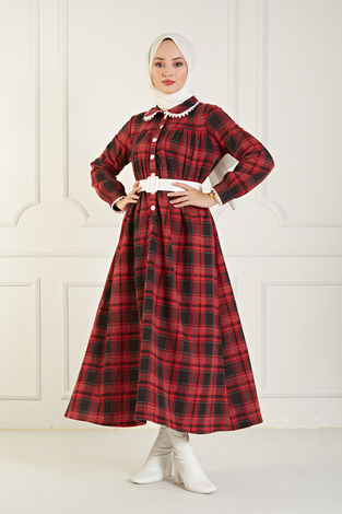 Çalıkuşu Elbise 100MD10107 Kırmızı-Füme - Thumbnail