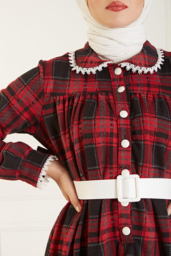 Çalıkuşu Elbise 100MD10107 Kırmızı-Füme