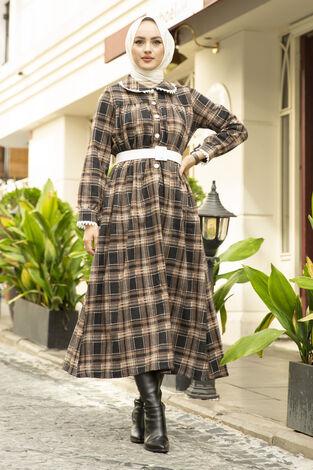 Çalıkuşu Elbise 100MD10107 Vizon - Thumbnail