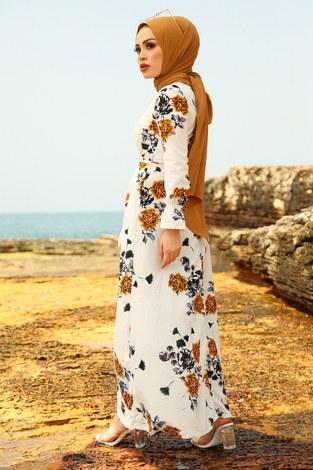 Çiçek Desenli Elbise 4402-2 - Thumbnail