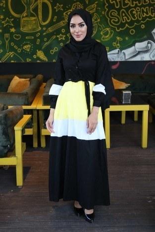 - Renkli kat katlı elbise 039638-01