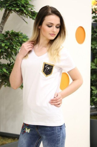- Cep Detaylı T-Shirt 1984-1 Beyaz