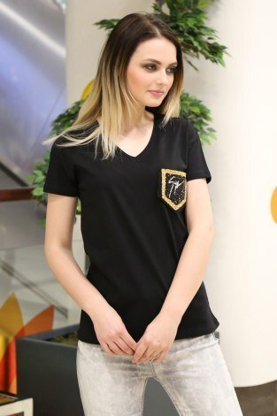 - Cep Detaylı T-Shirt 1984-2 Siyah