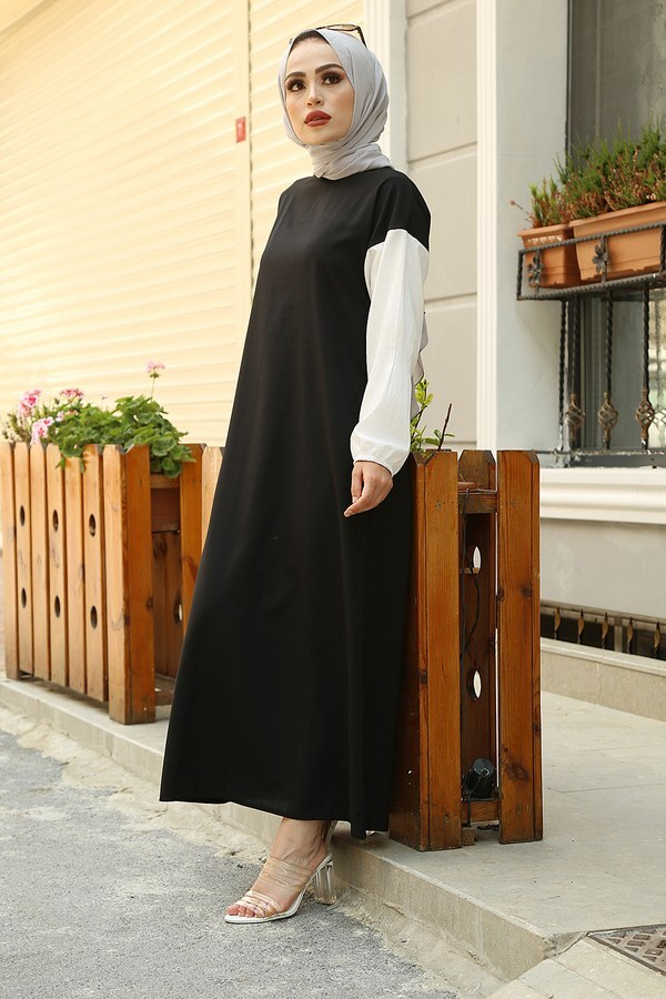 Cepli Spor Elbise 65744-1 Siyah