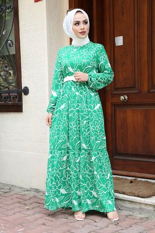- Çiçek Desenli Elbise 4445-4 Çimen Yeşili