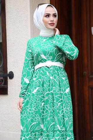 - Çiçek Desenli Elbise 4445-4 Çimen Yeşili (1)
