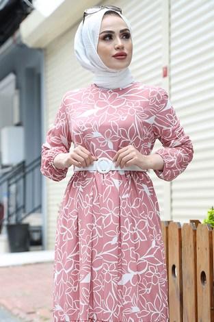 - Çiçek Desenli Elbise 4445-3 Pudra (1)
