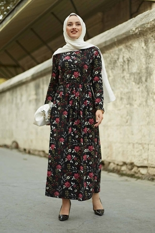 EMİR - Çiçek Desen Bel Büzgülü Elbise 260ER2454 Siyah