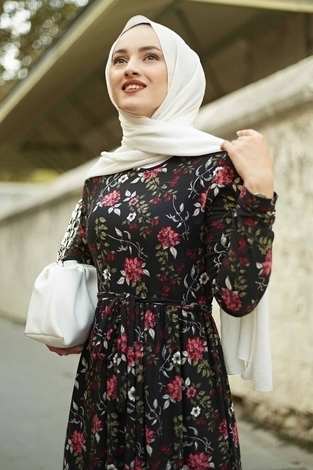 EMİR - Çiçek Desen Bel Büzgülü Elbise 260ER2454 Siyah (1)