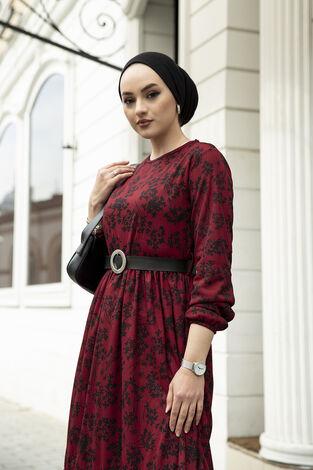 Çiçek Desen Kemerli Elbise 120NY-3243 Bordo - Thumbnail