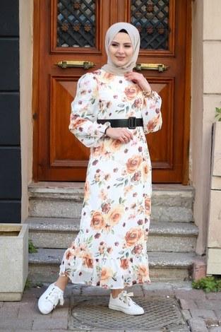 Çiçek Desen Şifon Elbise 7043-1 - Thumbnail