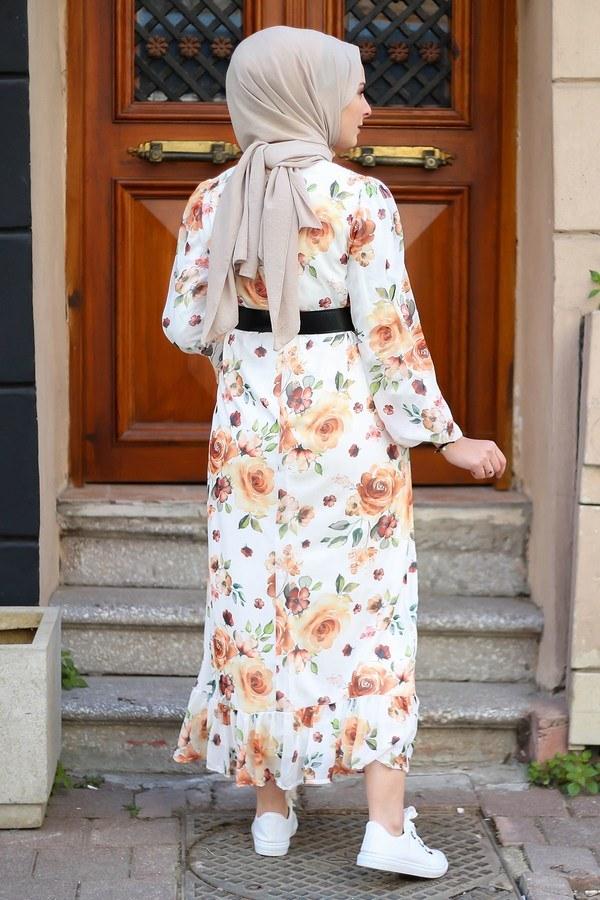 Çiçek Desen Şifon Elbise 7043-1