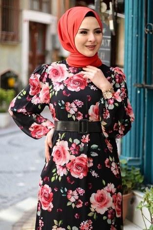 Çiçek Desen Şifon Elbise 7043-3 - Thumbnail