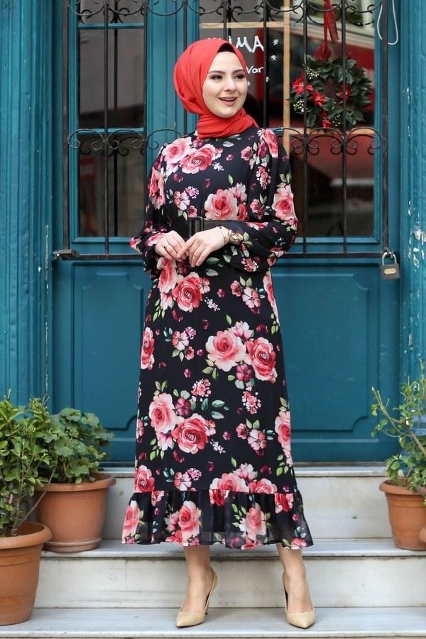 Çiçek Desen Şifon Elbise 7043-3