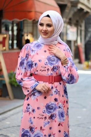Çiçek Desen Şifon Elbise 7043-4 - Thumbnail