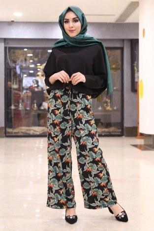 - Çiçek Desenli Bol Pantolon 16516-1 Siyah