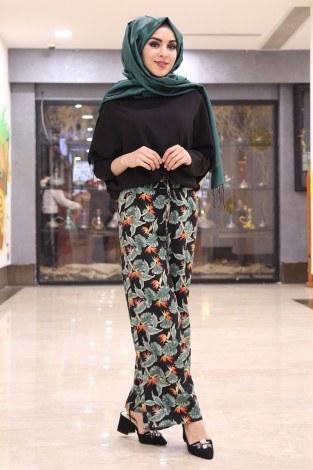 - Çiçek Desenli Bol Pantolon 16516-1 Siyah (1)