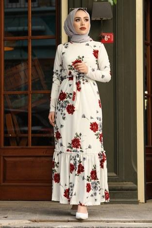 - Çiçek Desenli Elbise 13515-1 Kırmızı