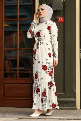 Çiçek Desenli Elbise 13515-1 Kırmızı - Thumbnail