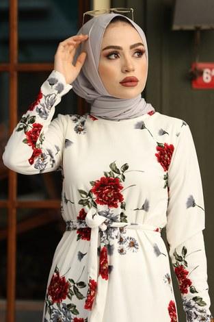 - Çiçek Desenli Elbise 13515-1 Kırmızı (1)