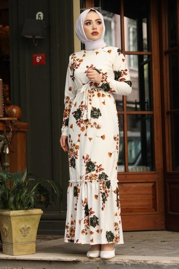 Çiçek Desenli Elbise 13515-2 Haki
