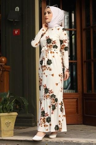 Çiçek Desenli Elbise 13515-2 Haki - Thumbnail