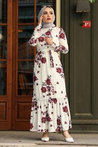 - Çiçek Desenli Elbise 13515-3 Mor