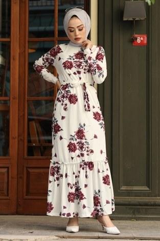 Çiçek Desenli Elbise 13515-3 Mor - Thumbnail