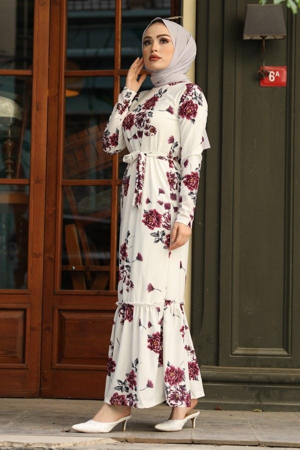 Çiçek Desenli Elbise 13515-3 Mor