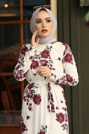 - Çiçek Desenli Elbise 13515-3 Mor (1)