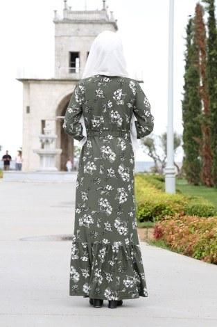 Çiçek Desenli Elbise 1543-04 - Thumbnail