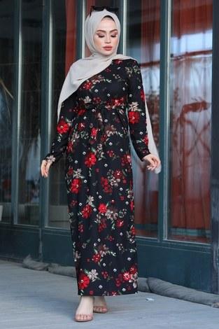 - Çiçek Desenli Elbise 17642-1 Siyah