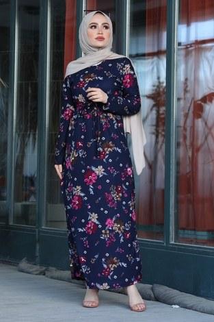 - Çiçek Desenli Elbise 17642-2 Lacivert