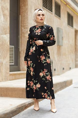 Çiçek Desenli Elbise 190E14328-2 Siyah - Thumbnail