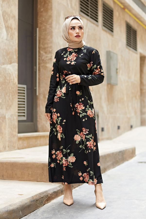 Çiçek Desenli Elbise 190E14328-2 Siyah