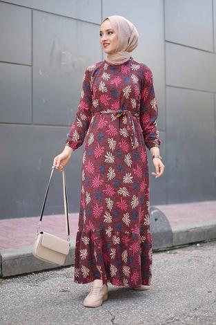 - Çiçek Desenli Elbise 2258-1 Bordo