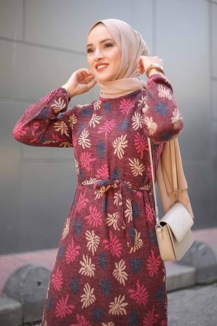 - Çiçek Desenli Elbise 2258-1 Bordo (1)