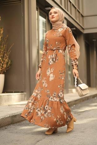 - Çiçek Desenli Elbise 2258-6