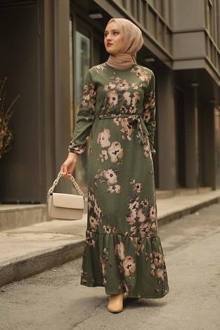- Çiçek Desenli Elbise 2258-7