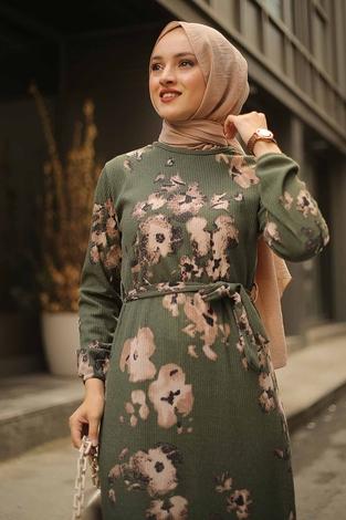 - Çiçek Desenli Elbise 2258-7 (1)