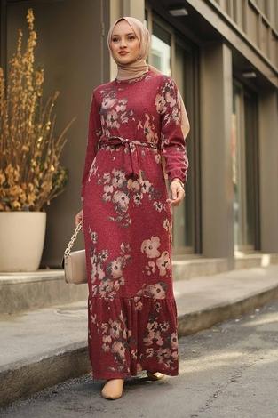 - Çiçek Desenli Elbise 2258-8