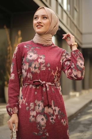 - Çiçek Desenli Elbise 2258-8 (1)