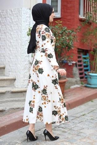 Çiçek Desenli Elbise 4402-3 - Thumbnail