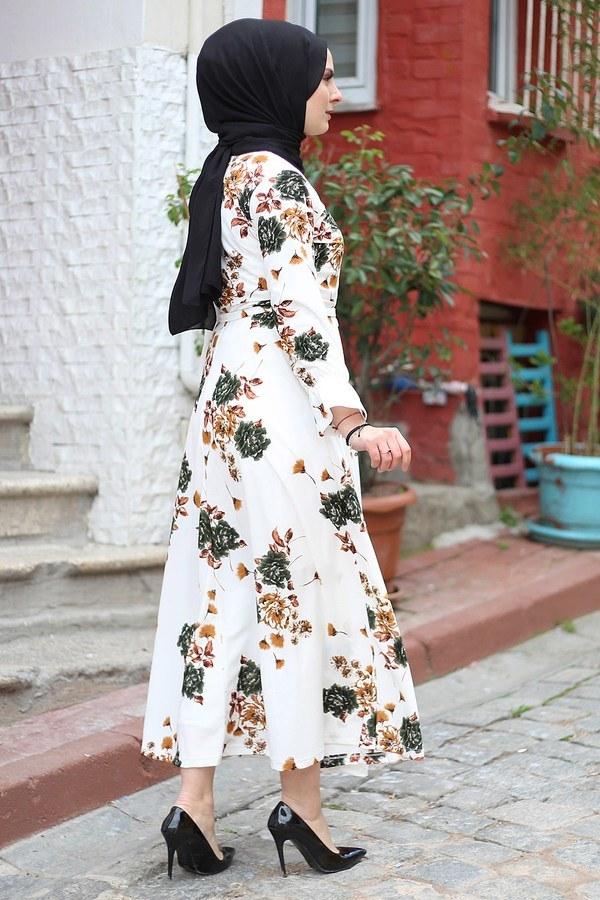 Çiçek Desenli Elbise 4402-3