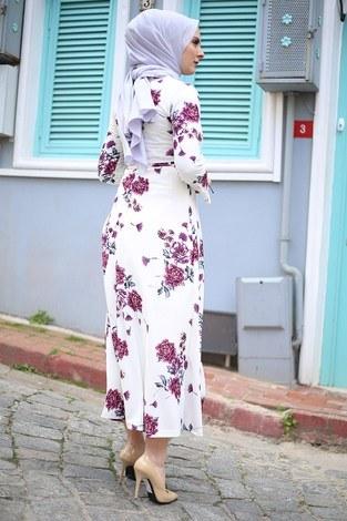 Çiçek Desenli Elbise 4402-4 - Thumbnail