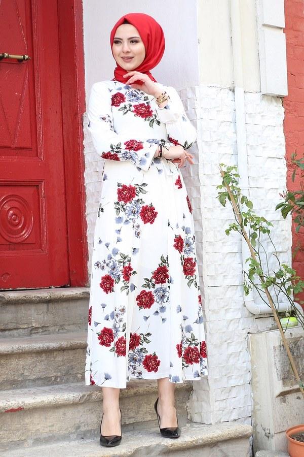 Çiçek Desenli Elbise 4402-5