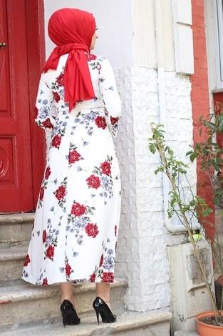 Çiçek Desenli Elbise 4402-5 - Thumbnail