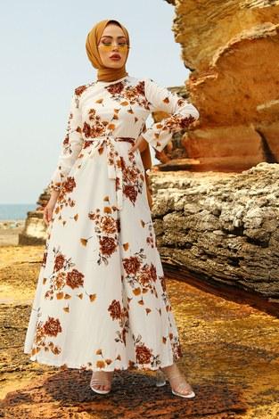 Çiçek Desenli Elbise 4402-1 - Thumbnail