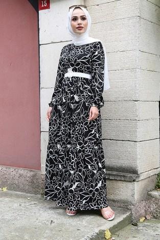 - Çiçek Desenli Elbise 4445-1 Siyah