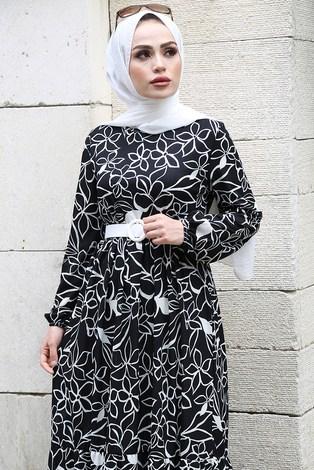 - Çiçek Desenli Elbise 4445-1 Siyah (1)